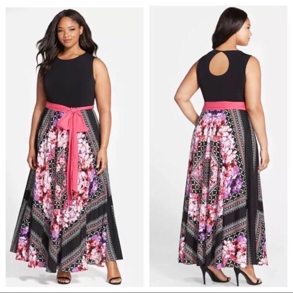 c09892dd7da0e Eliza J Scarf Print Jersey Maxi Dress Plus Sz 24W NWT